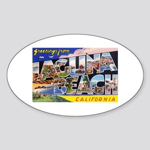 Laguna Beach California Greetings Oval Sticker