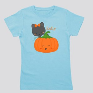 Kitty and Pumpkin Personalized Girl's Tee