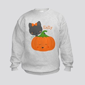 Kitty and Pumpkin Personalized Kids Sweatshirt