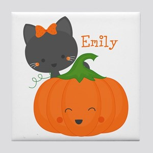 Kitty and Pumpkin Personalized Tile Coaster