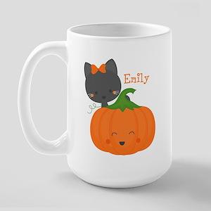 Kitty and Pumpkin Personalized Large Mug