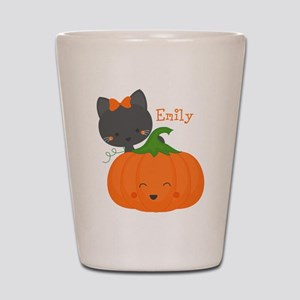 Kitty and Pumpkin Personalized Shot Glass