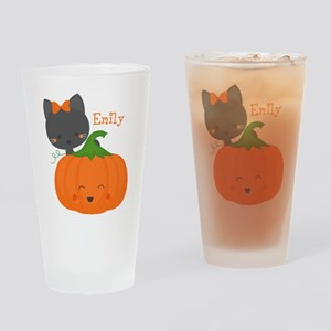 Kitty and Pumpkin Personalized Drinking Glass