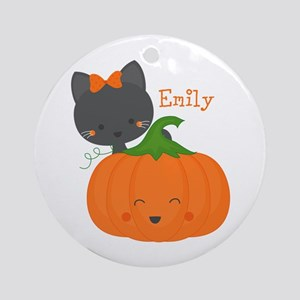 Kitty and Pumpkin Personalized Ornament (Round)