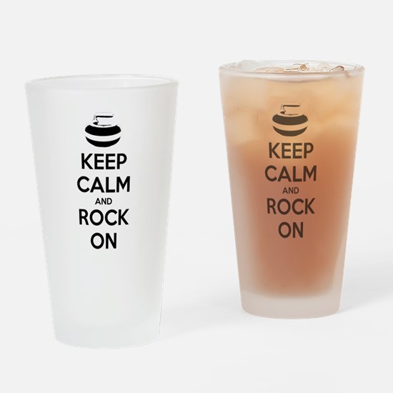 Keep Calm and Rock On - Curling Drinking Glass