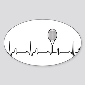 Tennis Heartbeat Sticker (Oval)