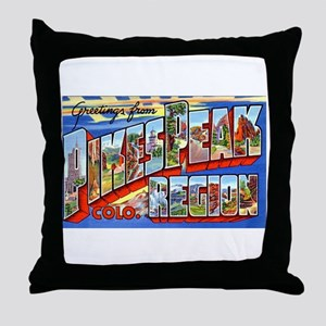 Pikes Peak Colorado Greetings Throw Pillow