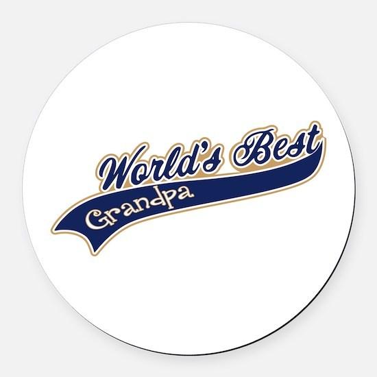 Worlds Best Grandpa Round Car Magnet