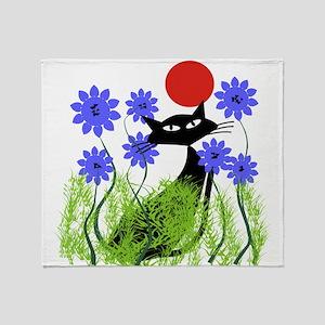 whimsical cat blue flowers DUVET Throw Blanket