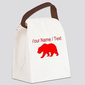 Custom Red California Bear Canvas Lunch Bag