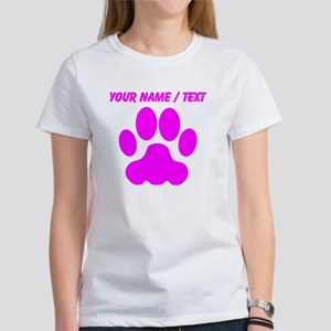 Custom Pink Big Cat Paw Print T-Shirt