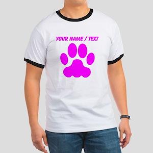Custom Pink Big Cat Paw Print T-Shirt