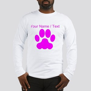 Custom Pink Big Cat Paw Print Long Sleeve T-Shirt