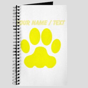 Custom Yellow Big Cat Paw Print Journal