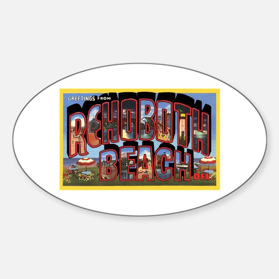Rohoboth Beach Delaware Greetings Oval Decal