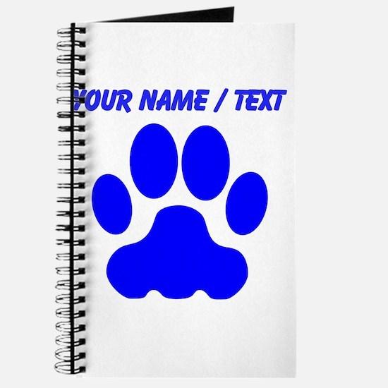 Custom Blue Big Cat Paw Print Journal