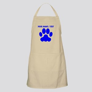 Custom Blue Big Cat Paw Print Apron