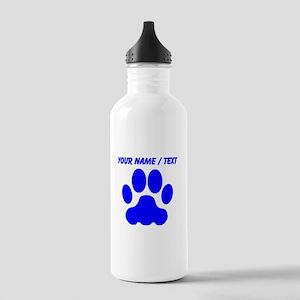Custom Blue Big Cat Paw Print Sports Water Bottle