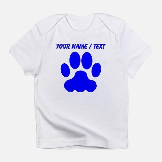 Custom Blue Big Cat Paw Print Infant T-Shirt