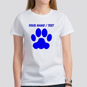 Custom Blue Big Cat Paw Print T-Shirt