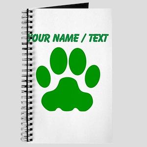 Custom Green Big Cat Paw Print Journal
