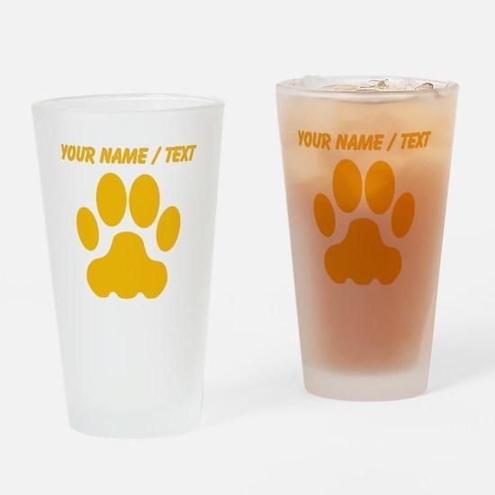 Custom Orange Big Cat Paw Print Drinking Glass