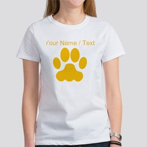 Custom Orange Big Cat Paw Print T-Shirt
