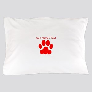 Custom Red Big Cat Paw Print Pillow Case