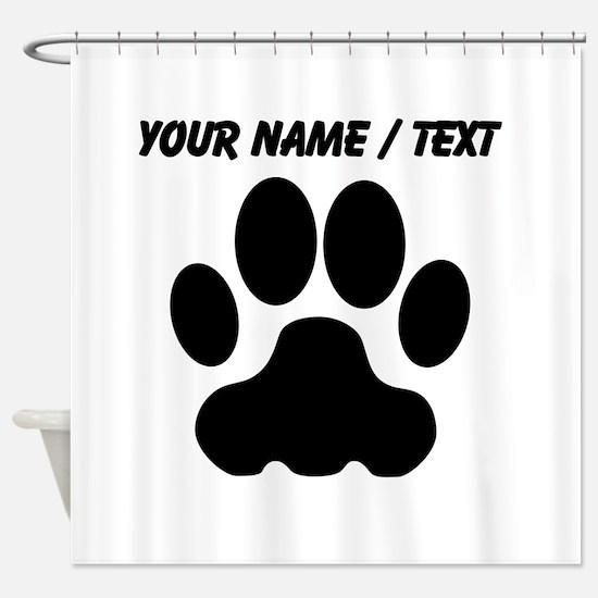 Custom Black Big Cat Paw Print Shower Curtain