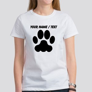 Custom Black Big Cat Paw Print T-Shirt