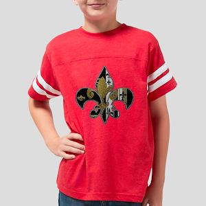 Fleur de lis bling black and  Youth Football Shirt