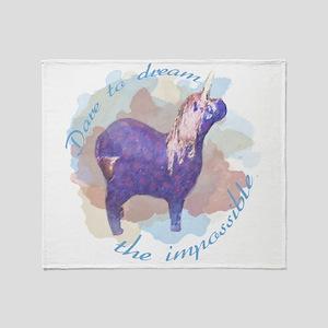 Dare to Dream The Impossibe Unicorn Throw Blanket