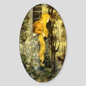 Vintage Fairy Tale Rapunzel Sticker (Oval)