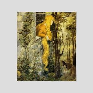 Vintage Fairy Tale Rapunzel Throw Blanket
