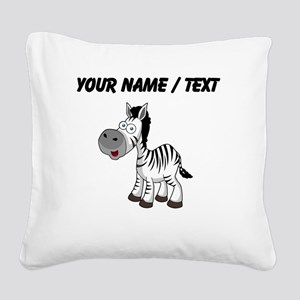 Custom Cartoon Zebra Square Canvas Pillow