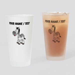 Custom Cartoon Zebra Drinking Glass