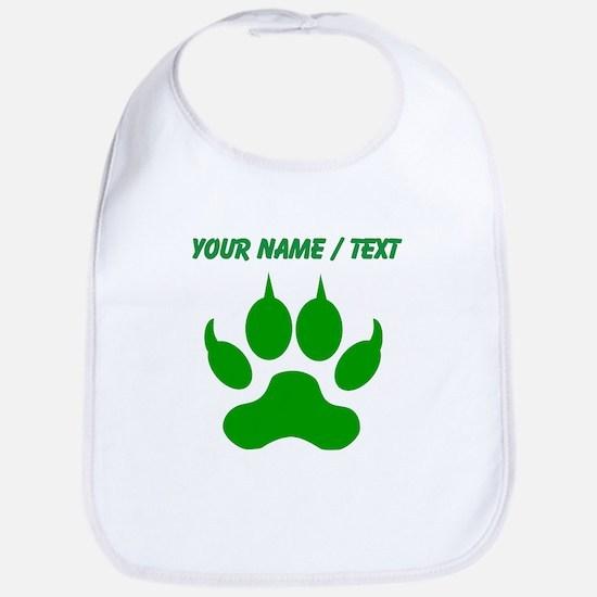 Custom Green Wolf Paw Print Bib
