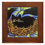 Black CAT in Crow's Nest Framed ART Tile