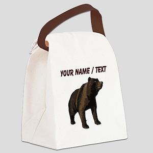 Custom Grizzly Bear Canvas Lunch Bag