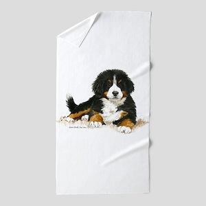 Bernese Mountain Dog Bright Eyes Beach Towel