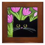 Black CAT and Pink Tulips Framed ART Tile