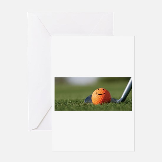 golf smiley Greeting Cards