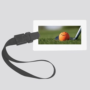 golf smiley Large Luggage Tag