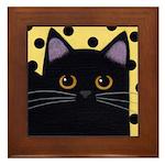 Black CAT With Polka Dots Framed ART Tile