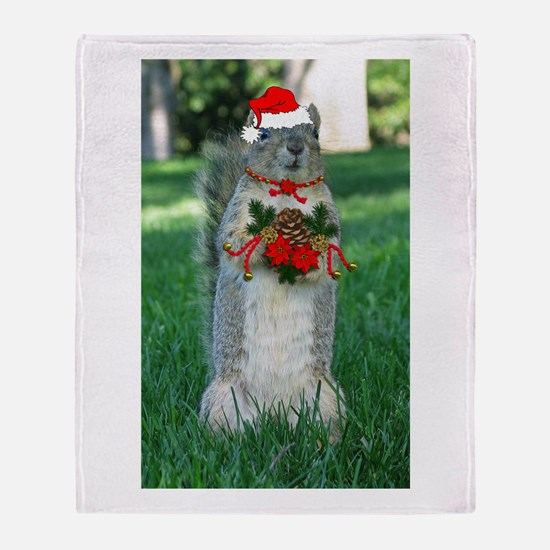 Christmas Squirrel Throw Blanket
