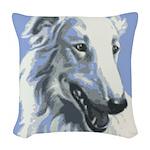Borzoi Portrait White-Blue Woven Throw Pillow