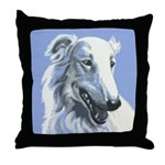 Borzoi Portrait White-Blue Throw Pillow