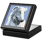 Borzoi Portrait White-Blue Keepsake Box