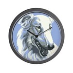 Borzoi Portrait White-Blue Wall Clock