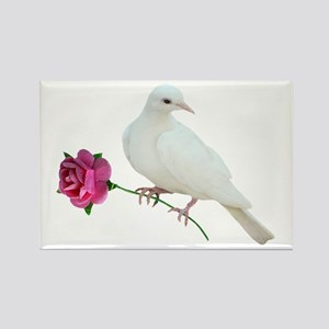 Dove Rose Rectangle Magnet